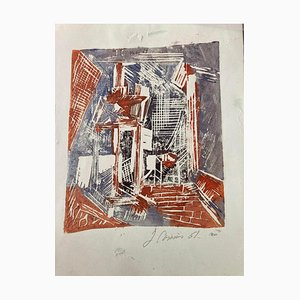 Unknown, Composition, Original Woodcut Print, Mid-20th Century