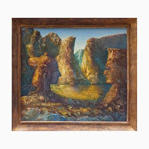 Franco Mulas, The Meeting, Original Oil Painting, 1989