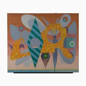 Peinture Leo Guida, Pink Geometries, Original Painting on Canvas, 1970s