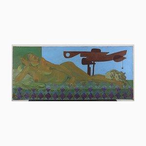 Leo Guida, Liegender Akt mit Signal 1, Original Öl auf Leinwand, 1988