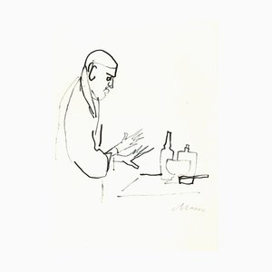 Mino Maccari, The Alchemist, Original Watercolor Drawing on Paper, 1960s