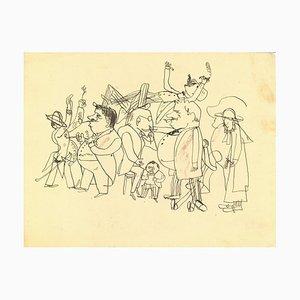 Mino Maccari, On the Street, Original Pen Drawing on Paper, 1960s