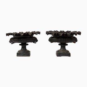 19th Century Black Cast Iron Urns, Set of 2