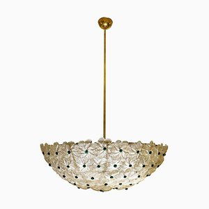 Italian Pendant Light with Murano Flowers in Clear Crystal Glass with Gold Flecks