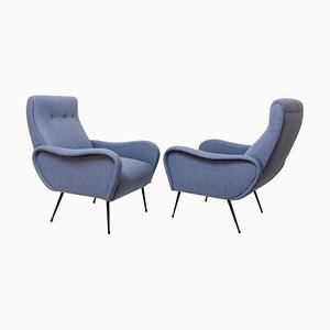 Italian Armchairs in Upholstery, Set of 2