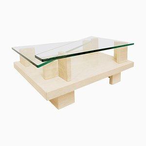Mesa de centro con tablero de vidrio y travertino