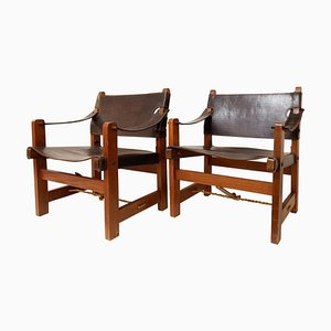 Armchairs in Wood and Brown Leather, Set of 2