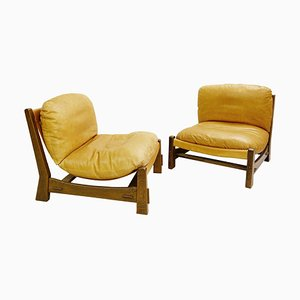 Canvas and Leather Armchairs in the Brazilian Style, Set of 2