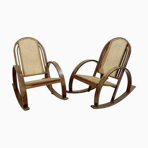 Rocking Chairs en Bois Courbé et Assise en Cannage, Set de 2