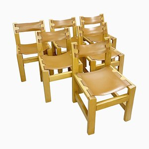Elm and Leather Chairs in the Style of Pierre Chapo, 1960s, Set of 6