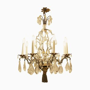 Crystal and Bronze 8-Light Chandelier, 19th Century