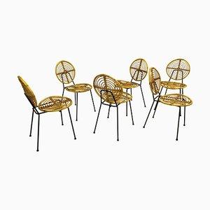 Rattan CM166 Stühle auf schwarzem Metallgestell von Thonet, Frankreich, 1950er, 6er Set