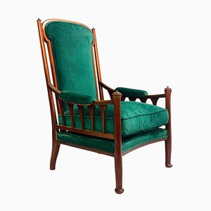 English Art Nouveau Armchair in Green Velvet Upholstery