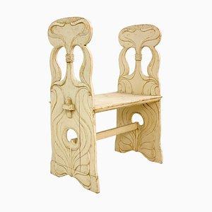 Panca Art Nouveau in legno