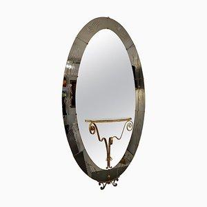 Specchio Cristal Art con consolle attribuita a Luigi Colli, Italia, anni '50