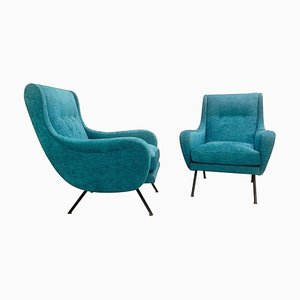 Italian Armchairs with Velvet Upholstery, 1950s, Set of 2