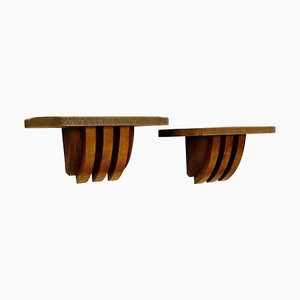 Wooden Large Wall Consoles by Pier Luigi Colli, Italy, 1950s, Set of 2