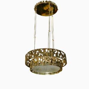 Lámpara de araña italiana de latón, años 70