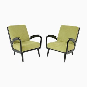 Black Lacquer & Upholstery Armchairs, Set of 2
