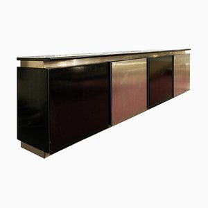 Sideboard in Stained Oak and Aluminum by Ludovico Acerbis, 1960s