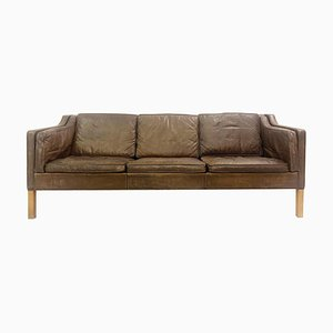 Danish Leather and Oak 2213 3-Seat Sofa by Børge Mogensen for Fredericia