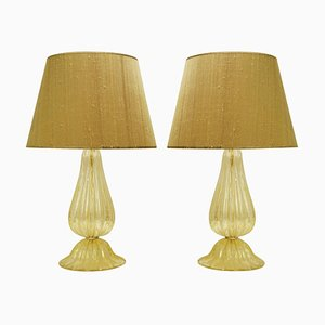 Lampade da tavolo a forma di polvere in vetro di Murano dorato con paralumi in seta, set di 2
