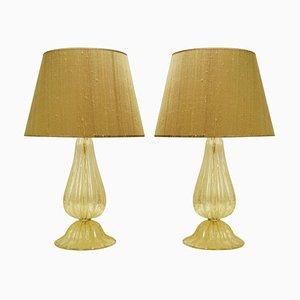 Lampes de Bureau Dorées en Verre de Murano avec Abat-jours en Soie Sauvage, Set de 2