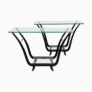 Console Tables in Glass and Mahogany, 1950s, Set of 2