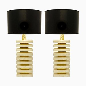 Italian Travertine and Brass Table Lamps, Set of 2