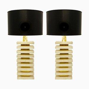 Lampes de Bureau en Travertin et Laiton, Italie, Set de 2