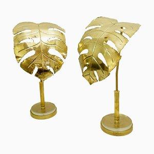 Lampade da tavolo color oro a forma di palma, set di 2