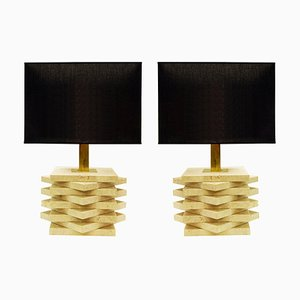Tischlampen aus Travertin, 2er Set