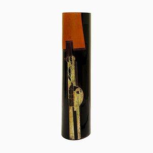 Vaso cilindrico in vetro nero inciso di A. Riecke, XX secolo