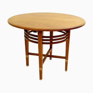 Mahogany and Brass Liszt Pedestal Table by Gustave Serrurier Bovy, 1903