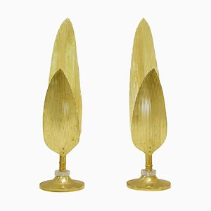 Palm Tree Gold Table Lamps, Set of 2