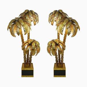 Vergoldete Palmer Stehlampen in Gold, 2er Set