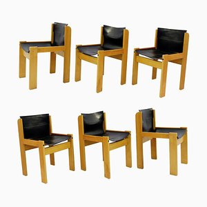 Italian Leather Sling Chairs by Ibisco, 1970s, Set of 6
