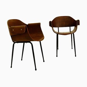 Plywood Molding Armchairs, Italy, 1955, Set of 2