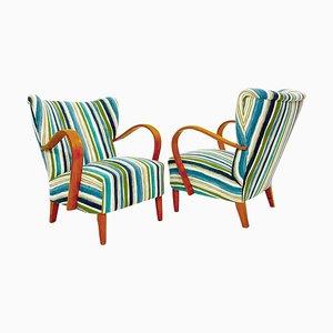 Italian Upholstery Armchairs, 1950, Set of 2