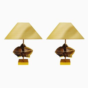 Lampes de Bureau en Bronze par Christiane Charles, France, 1980s, Set de 2