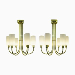 Brass Ceiling Lights, Italy, 1960s, Set of 2