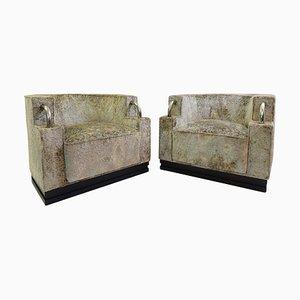Fauteuils Art Déco en Velours Upholstery, Set de 2