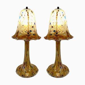 Mushroom Lamps in Glass Paste, Set of 2