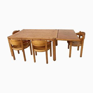Wood Dining Chairs & Table Set by Rainer Daumiller, Set of 5