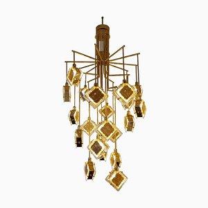 Italian Brass and Glass Long Chandelier