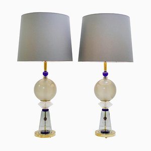 Italian Table Lamps in Murano Glass, Set of 2