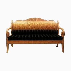 Early 19th Century Russian Biedermeier Sofa in Birchwood & Upholstery