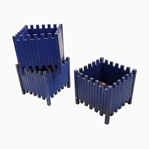 Blue Planters by Ettore Sottsass for Poltronova, 1961, Set of 3