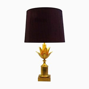 Brass Lotus Table Lamp by Maison Charles, France, 1960s