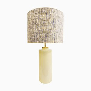 Pale Yellow Pastel Ceramic Pottery Table Lamp from Zaccagnini, Italy